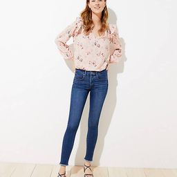 Petite Frayed High Waist Slim Pocket Skinny Jeans in Original Mid Indigo Wash | LOFT