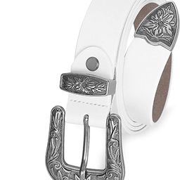 Women Vintage Western Leather Jeans Belts Ladies Designer Dress Belt Silver Buckle | Amazon (US)