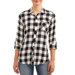 Women's Button Front Plaid Top | Walmart (US)