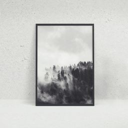 Cloudy Forest Black and White Photographic Wall Art Print | Etsy (UK)