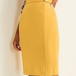 Doubleweave Button Tab Seamed Pencil Skirt | Ann Taylor (US)