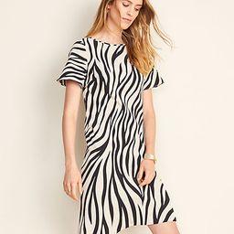 Zebra Print Flutter Sleeve T-Shirt Dress | Ann Taylor (US)