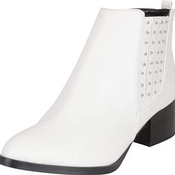 Women's Western Pointed Toe Studded Stacked Block Heel Ankle Bootie | Amazon (US)
