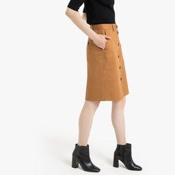 Cotton Button-Through Pencil Skirt | La Redoute (UK)