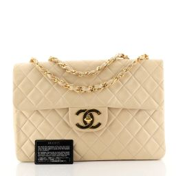 Chanel Vintage Classic Single Flap Bag Quilted Lambskin Maxi Neutral 4401312 | Rebag