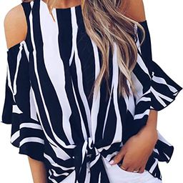 Women's Striped Bell Sleeve Shirt Tie Knot Casual Blouses Tops   Amazon (US)