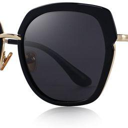 Vintage Oversized Women's Polarized shield Frame Sunglasses O6371 | Amazon (US)