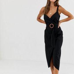 ASOS DESIGN wrap maxi dress with buckle belt | ASOS US