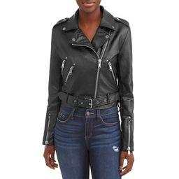 Women's Faux Leather Moto Jacket   Walmart (US)