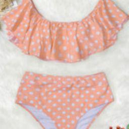 Peach Polka Dot Ruffled Bikini | Cupshe