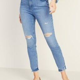 High-Waisted Distressed Power Slim Straight Jeans For Women | Old Navy US