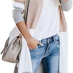 Womens Open Front Long Sweater Cardigans Boho Long Sleeve Color Block Knit Lightweight Kimono Dus... | Amazon (US)