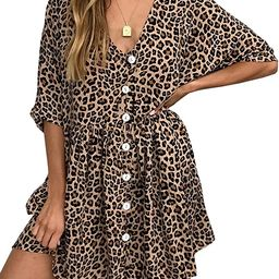 Women's V Neck Button Down Leopard Floral Dress Short Sleeves Loose Top Dresses with Pockets | Amazon (US)