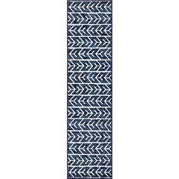 Sabrina Soto Navy Blue 2 ft. x 8 ft. Aston Indoor/Outdoor Runner Rug | The Home Depot