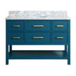 "Louella Blue Bathroom Vanity With Marble Top, 48""   Houzz"