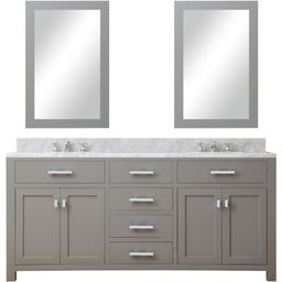 "Madison 72"" Cashmere Grey Double Sink Bathroom Vanity w/2 Framed Mirrors   Houzz"