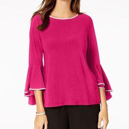 MSK Rhinestone-Trim Bell-Sleeve Top & Reviews - Tops - Women - Macy's | Macys (US)