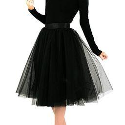 TOAH Women's Knee Length Sheer Bowknot Tutu Skirt A Line Short Knee Length Tutu Tulle Prom | Amazon (US)