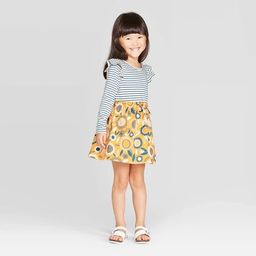 Toddler Girls' Long Sleeve A-Line Dress - Cat & Jack™ White/Blue/Yellow   Target