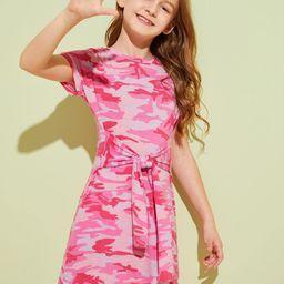 SHEINGirls Tie Waist Camouflage Tee Dress   SHEIN