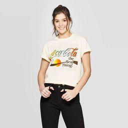Women's Coca-Cola Short Sleeve Rainbow Graphic T-Shirt (Juniors') - Cream   Target
