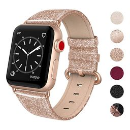 SWEES Leather Band Compatible for Apple Watch 38mm 40mm, Genuine Leather Shiny Bling Glitter Stra... | Amazon (US)
