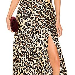 Sleeveless Spaghetti Strap Backless Low Back Side Split Slit Leopard Midi A-Line Cami Dress Brown | Amazon (US)