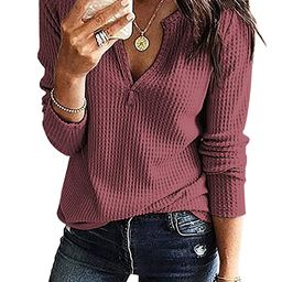 Glomeen Women's V Neck Henley Shirts Waffle Knit Loose Fitting Casual Long Sleeve Blouse Tops   Amazon (US)