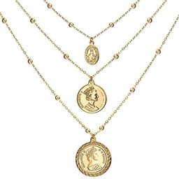 Coin Pendant Necklace 18K Gold Plated Canadian Coin (Front and Back Different Prints) Station Cha... | Amazon (US)