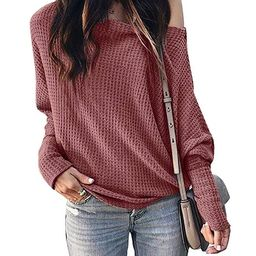 Imily Bela Womens Off The Shoulder Tops Lightweight Pullover Sweater Knit Casual Blouse | Amazon (US)