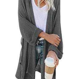 CPOKRTWSO Women's Loose Open Front 3/4 Sleeve Knit Kimono Cardigans Sweater with Pockets | Amazon (US)