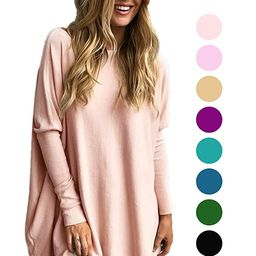 LIYOHON Women's Tunic Tops for Leggings Casual Oversized Shirts Batwing Long Sleeve Loose Fitting... | Amazon (US)