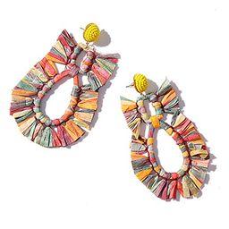 Raffia Earrings for Women – Bohemian Handmade Drop Earrings for Raffia-vintage Raffia Earrings ... | Amazon (US)