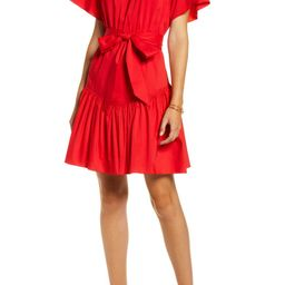 Ruffle Front Tie Stretch Cotton Dress | Nordstrom