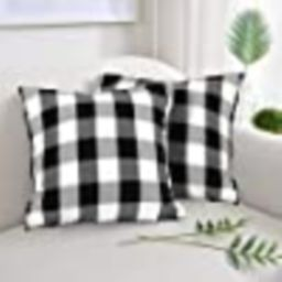 Set of 2 Black and White Buffalo Check Plaid Throw Pillow Covers Farmhouse Decorative Square Pill... | Amazon (US)