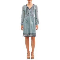 Women's Embroidered Peasant Dress   Walmart (US)