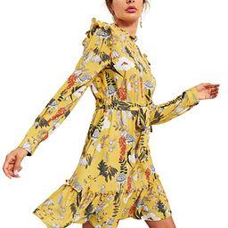 Floerns Women's Long Sleeve Ruffle Trim Self Tie Floral Print Short Dress   Amazon (US)