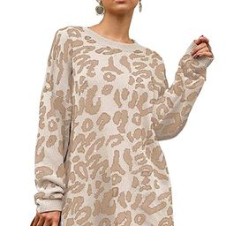 FAFOFA Women's Oversized Leopard Printed Round Neck Pullover Sweater Loose Fit Knit Jumper   Amazon (US)