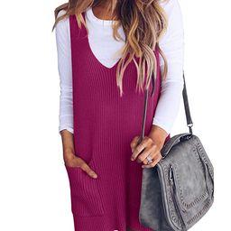 Imily Bela Womens Ribbed Deep V Neck Knitted Shift Dress Tank Vest Sweater   Amazon (US)