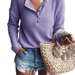 Famulily Women's Waffle Knit Tunic Tops Loose Long Sleeve Button Up V Neck Henley Shirts | Amazon (US)
