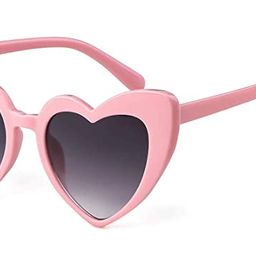 Clout Goggle Heart Sunglasses Retro Vintage Cat Eye Mod Style Kurt Cobain Glasses | Amazon (US)