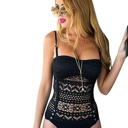 LookbookStore Women's Crochet Lace Halter Straps Swimsuits Bathing Suit US 0-16   Amazon (US)