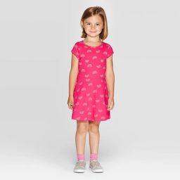 Toddler Girls' Short Sleeve Rainbow Print Knit Dress - Cat & Jack™ Pink | Target