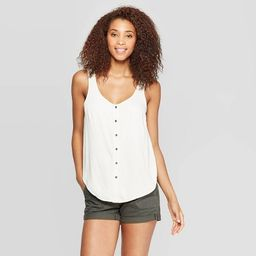 Women's V-Neck Button Front Knit Woven Tank Top - Universal Thread™ | Target