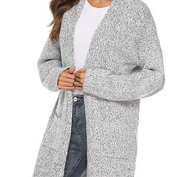 Women's Casual Sweater Cardigan Open Front Long Sleeve Cable Knit Sweater Pockets   Amazon (US)