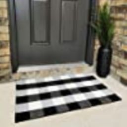 "Cotton Buffalo Plaid Rugs Black and White Checkered Rug Welcome Door Mat (23.6""x35.4"") Rug for Ki... | Amazon (US)"