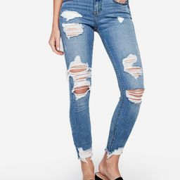 mid rise medium wash ripped ankle leggings | Express