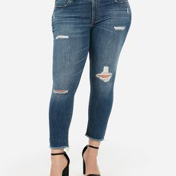 mid rise ripped raw hem cropped leggings | Express