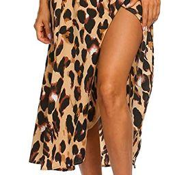 Women's Boho Leopard Skirt High Low Split Summer Beach Midi Wrap Skirts | Amazon (US)