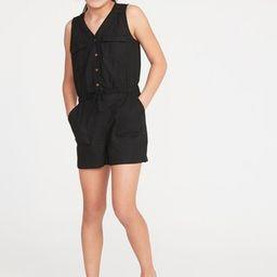 Linen-Blend Utility-Pocket Romper for Girls | Old Navy US